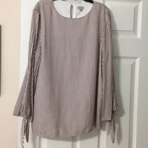 Cremieux burgundy and white stripe blouse w/ ties